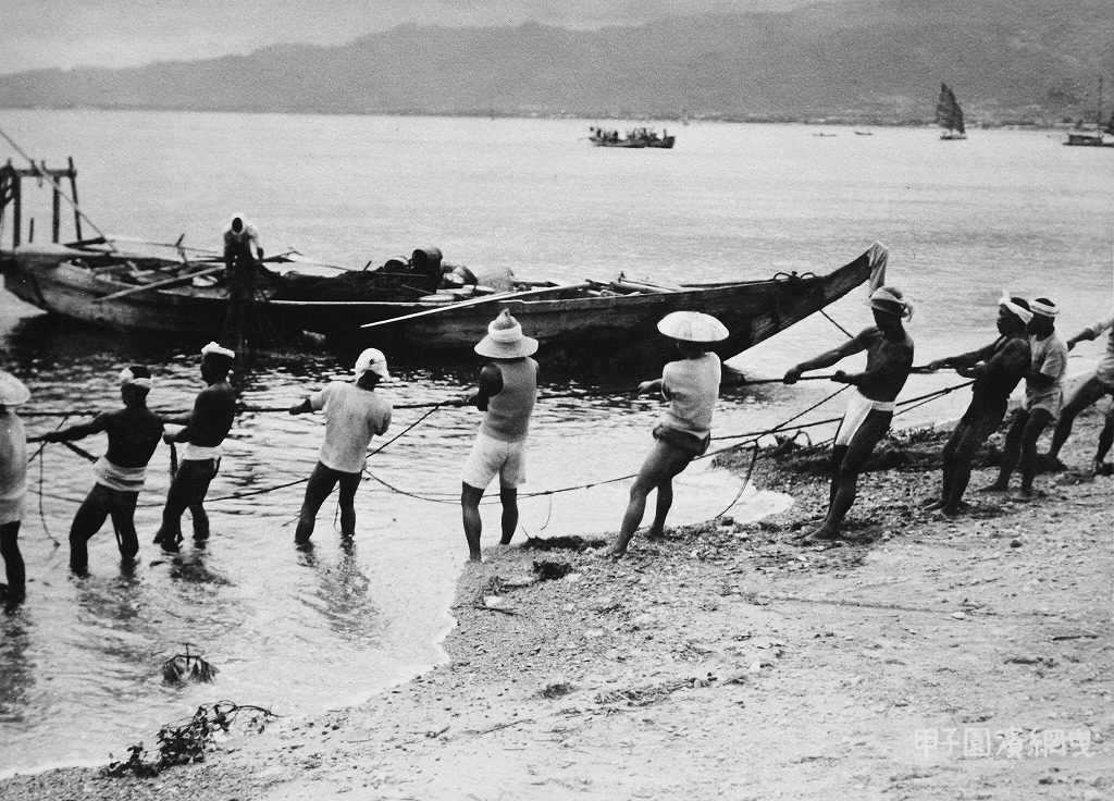 甲子園浜の地引網(戦前)